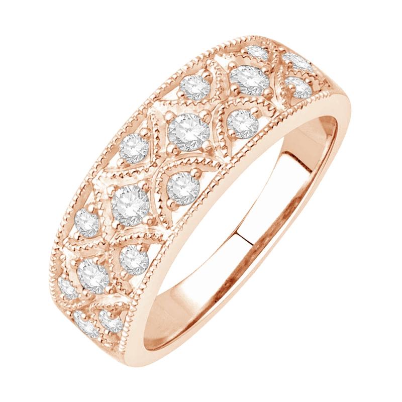 Bague alliance or rose 9 carats, Diamants , Melrose
