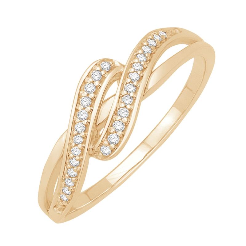 Bague or jaune 9 carats, Diamants, Nina