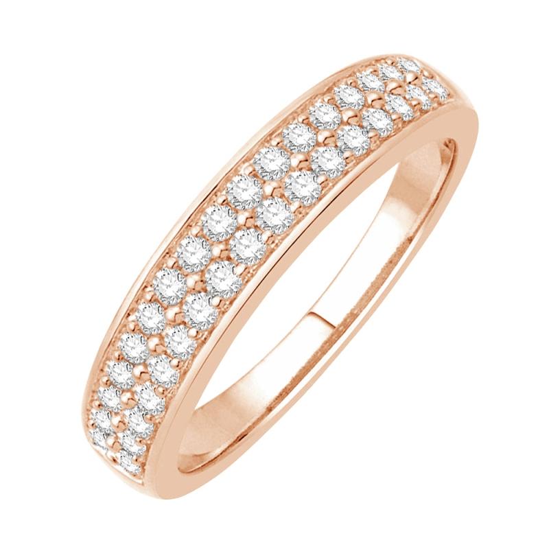 Bague alliance or rose 9 carats, Diamants , Noor