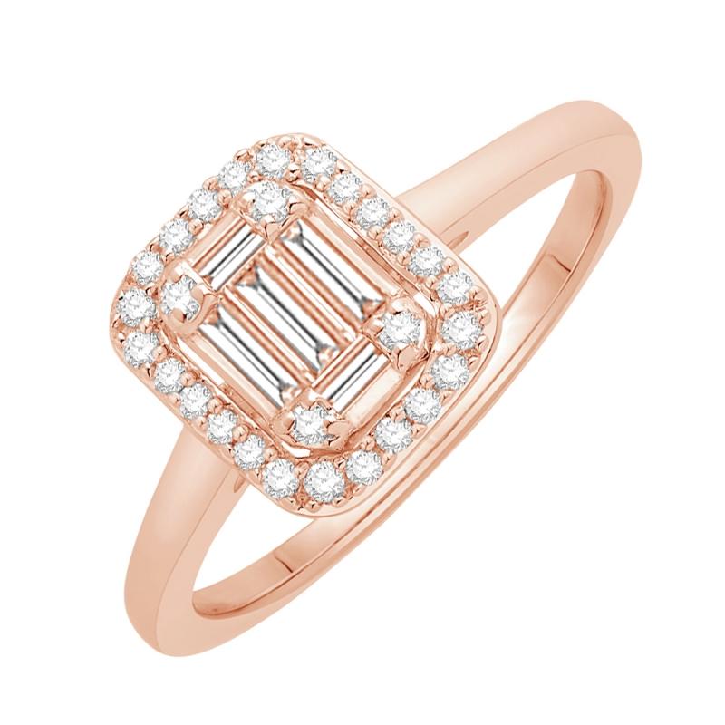 Bague or rose 9 carats, Diamants, Odessa