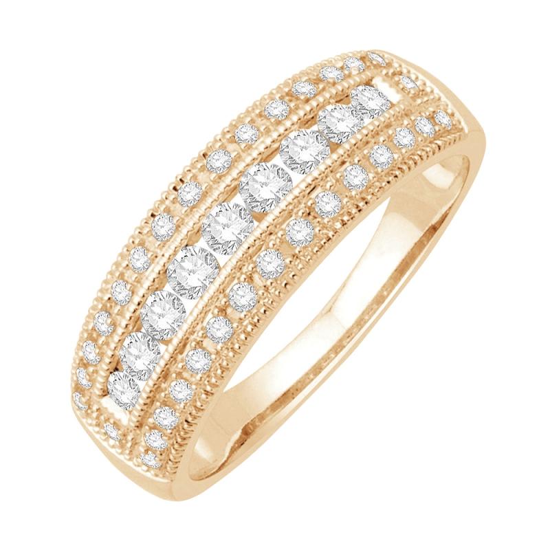 Bague alliance or jaune 9 carats, Diamants, Raissa