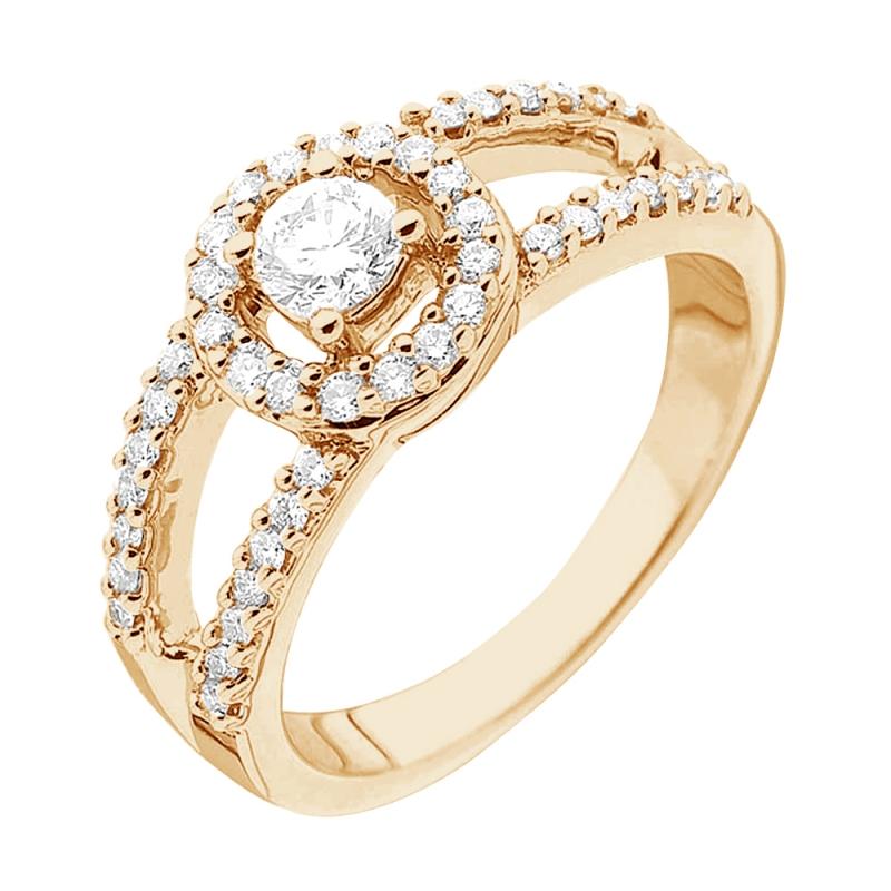 Bague or jaune 9 carats, Diamants, Ramatuelle