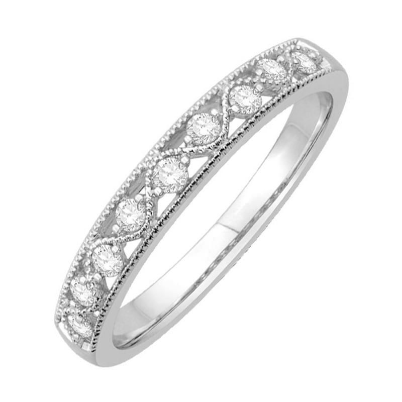 Bague alliance or blanc 9 carats, Diamants, Shana