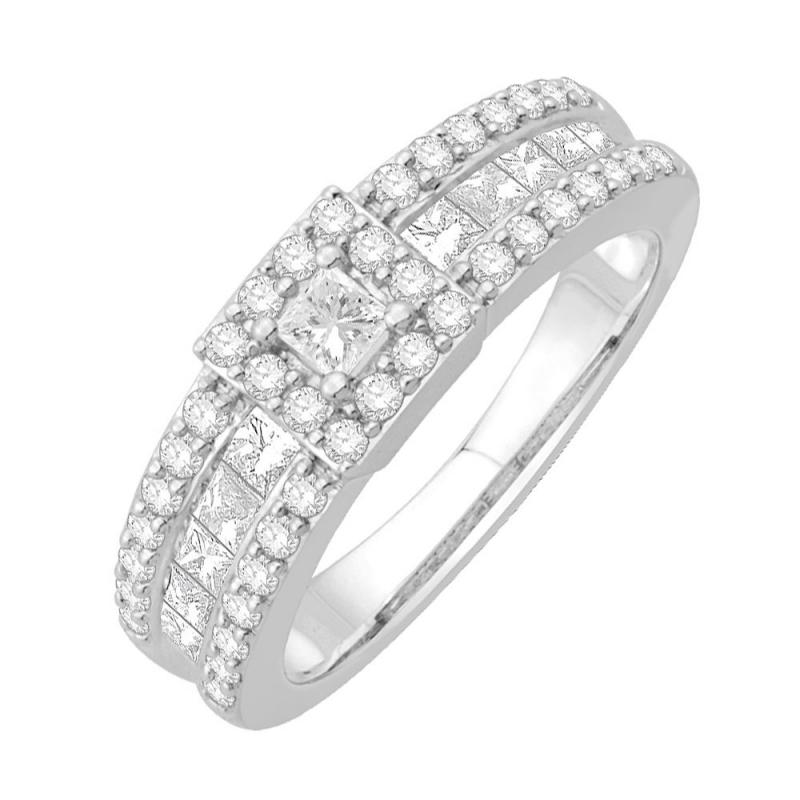 Bague or blanc 9 carats, Diamants, Shirley