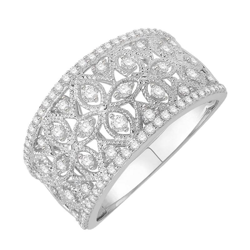 Bague or blanc 9 carats, Diamants, Tropézienne