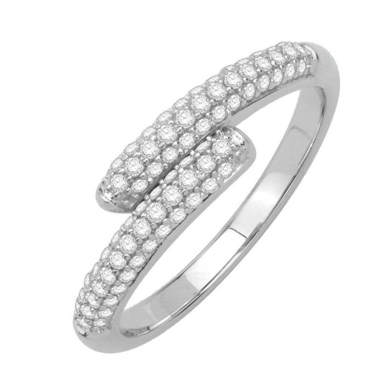 Bague or blanc 9 carats, Diamants, Estrella