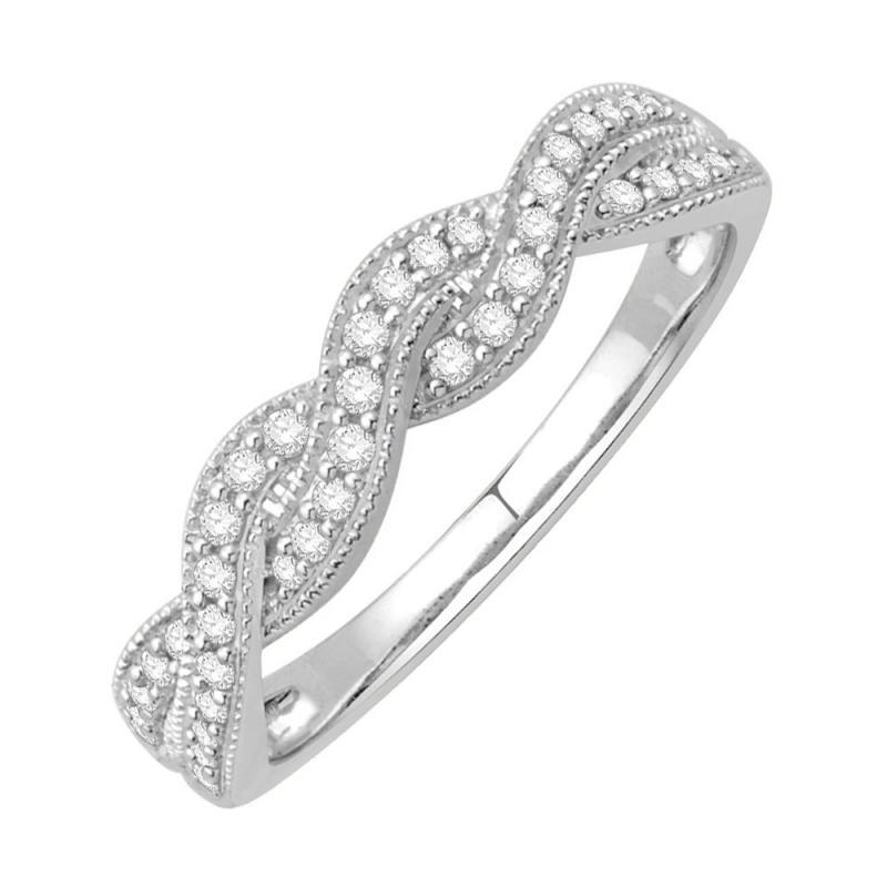 Bague alliance or blanc 9 carats, Diamants, Kenzy