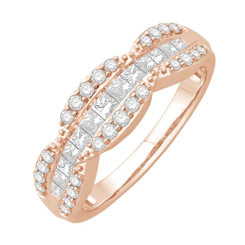 Bague or rose 9 carats, Diamants, Laena