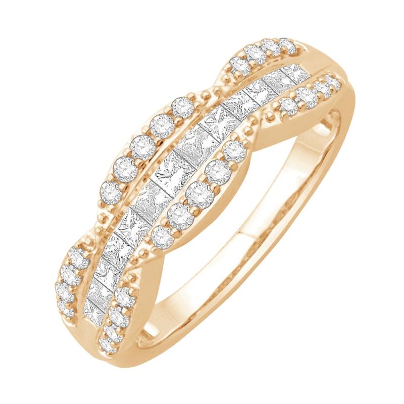Bague alliance or jaune 9 carats, Diamants, Laena