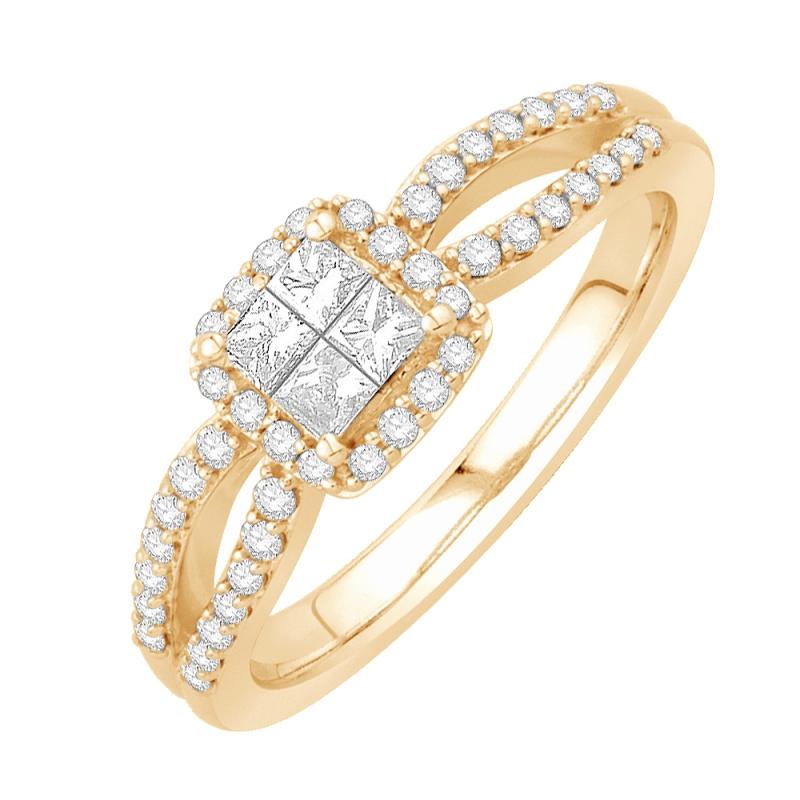 Bague or jaune 9 carats, Diamants, Madison