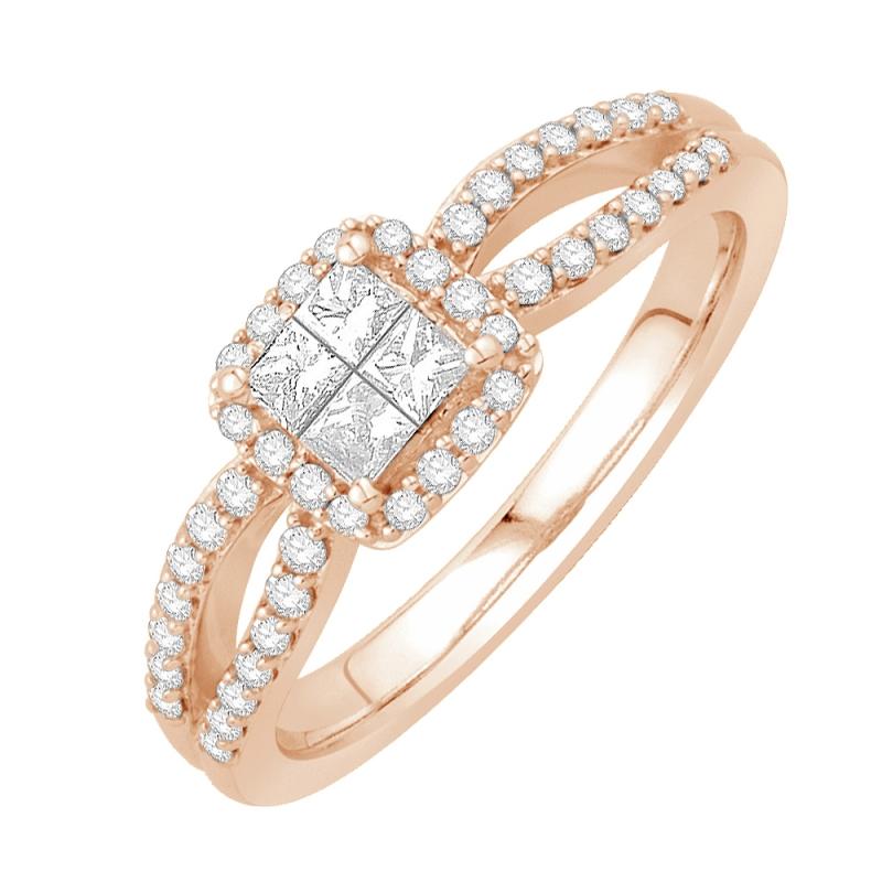 Bague or rose 9 carats, Diamants, Madison
