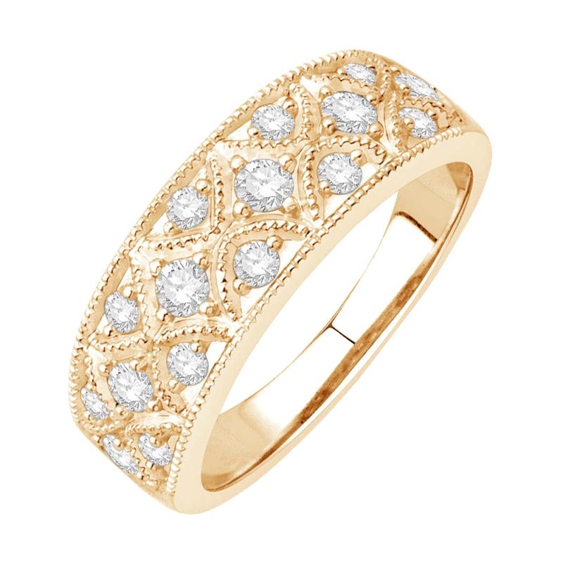 Bague alliance or jaune 9 carats, Diamants, Melrose