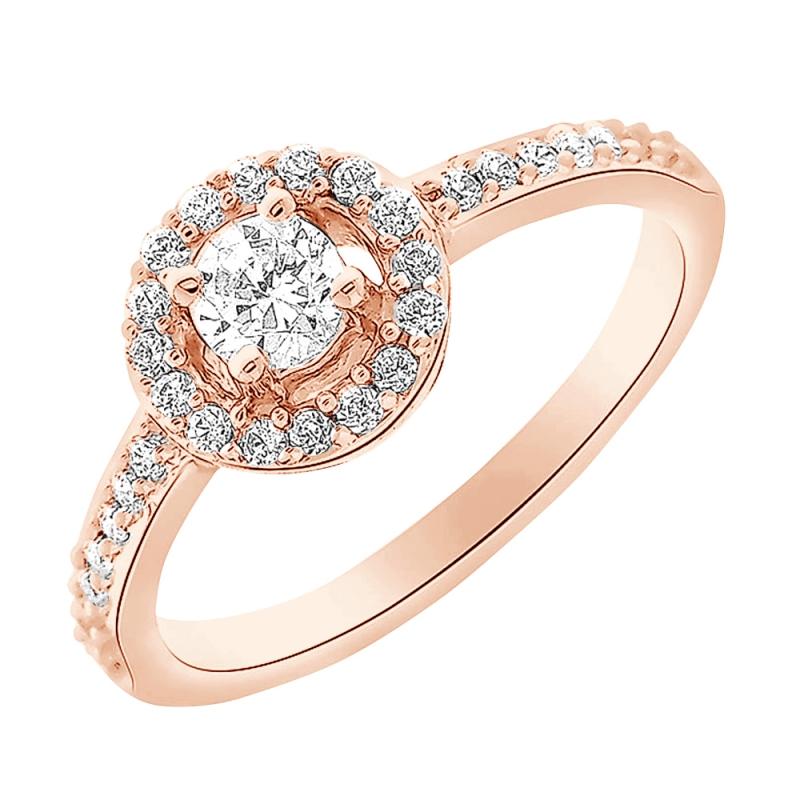 Bague or rose 9 carats, Diamants, Neysla