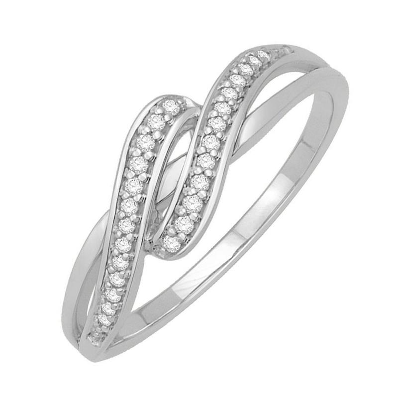 Bague or blanc 9 carats, Diamants, Nina