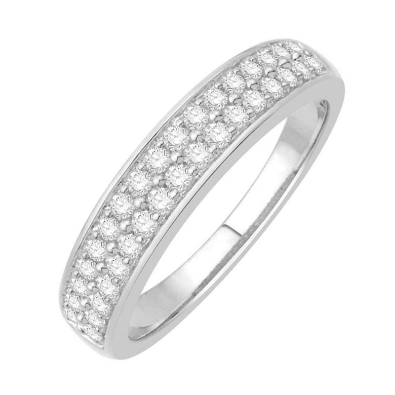 Bague alliance or blanc 9 carats, Diamants, Noor