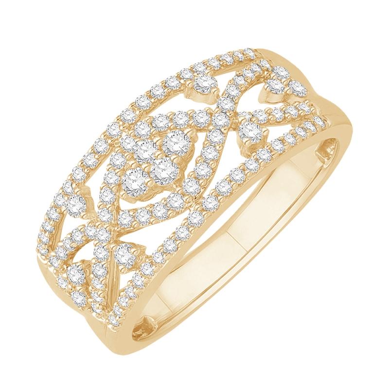 Bague or jaune 9 carats, Diamants, Nordique
