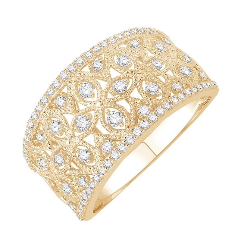 Bague or jaune 9 carats, Diamants, Tropézienne