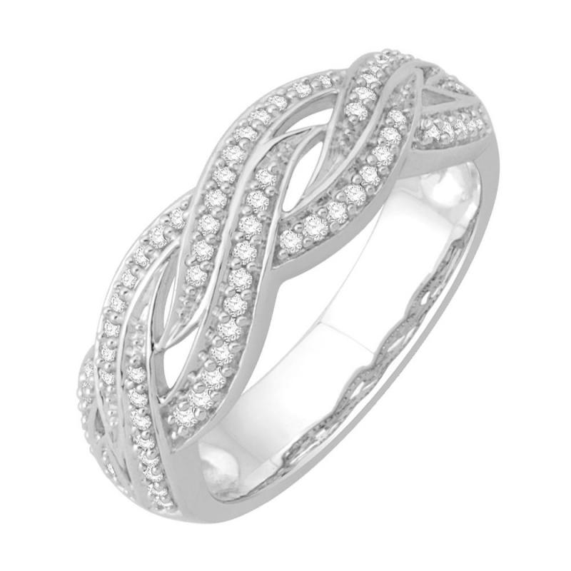 Bague or blanc 9 carats, Diamants, Toscana