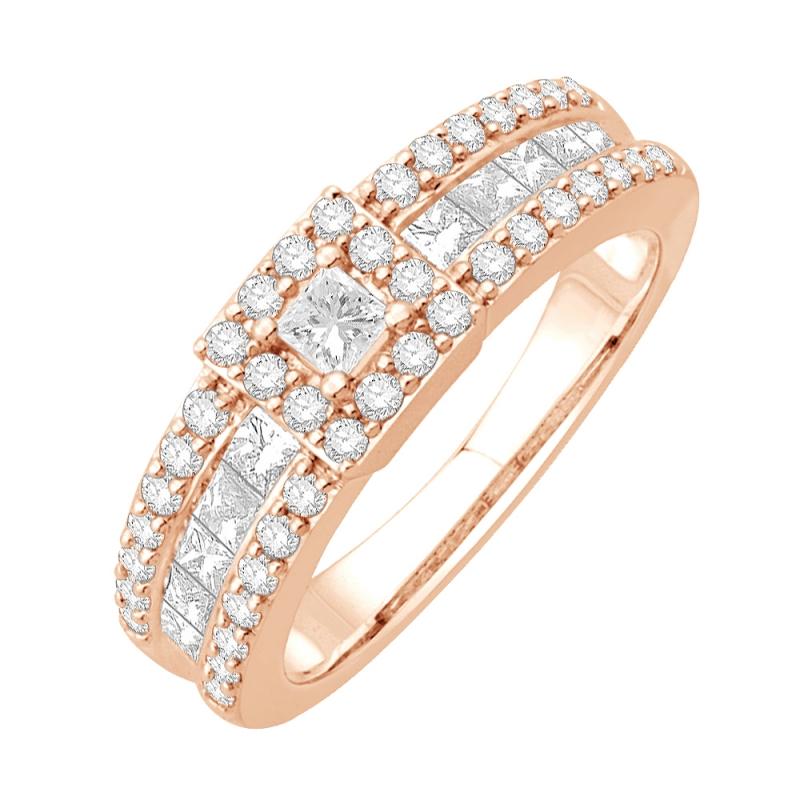 Bague or rose 9 carats, Diamants, Shirley