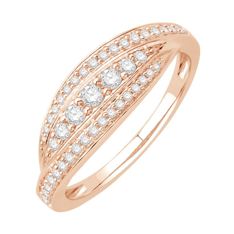 Bague or rose 9 carats, Diamants, Scarlett