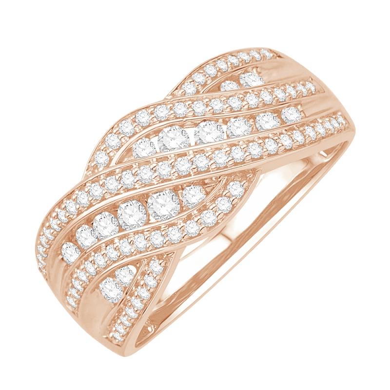 Bague or rose 9 carats, Diamants, Romaine