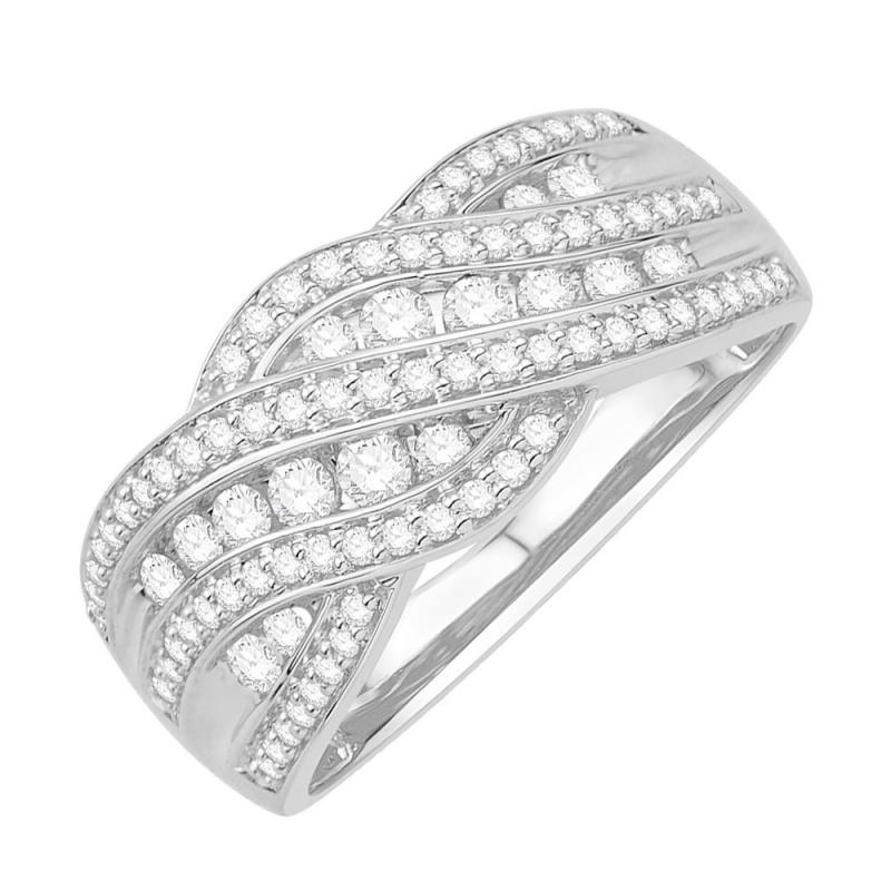 Bague or blanc 9 carats, Diamants, Romaine