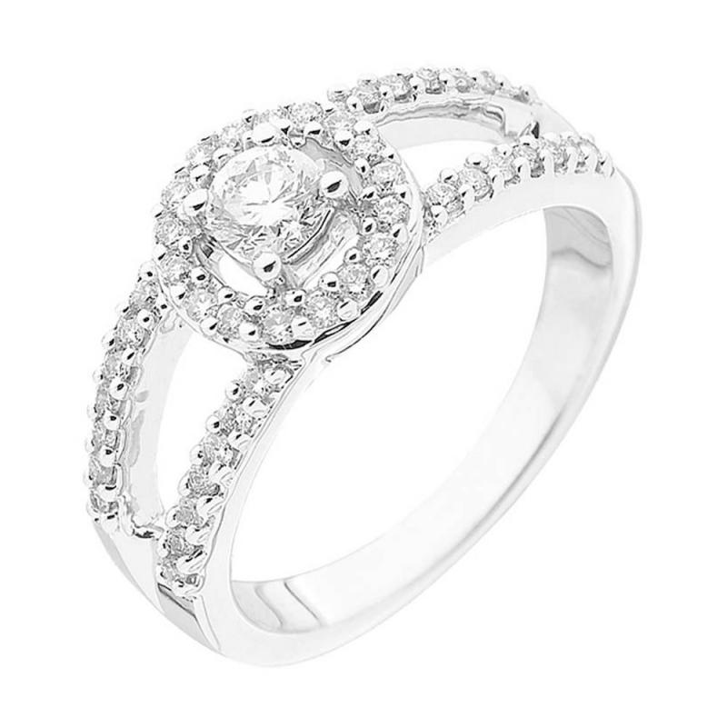 Bague or blanc 9 carats, Diamants, Ramatuelle