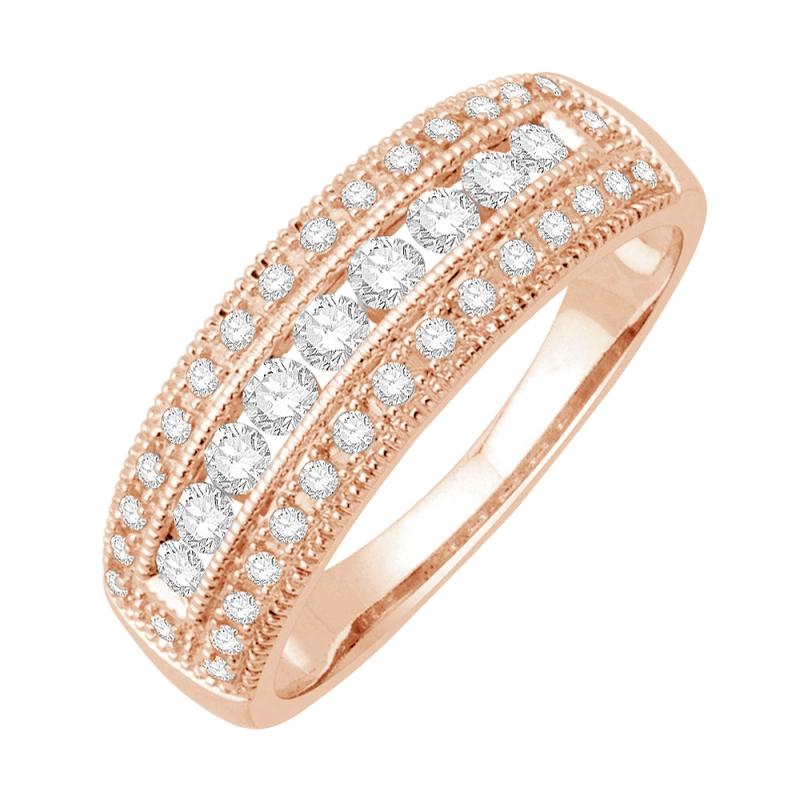 Bague alliance or rose 9 carats, Diamants, Raissa