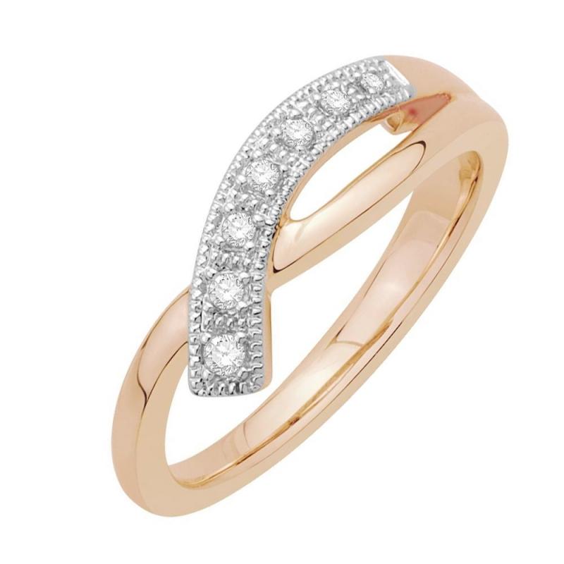 Bague or rose 9 carats, Diamants, Oriane