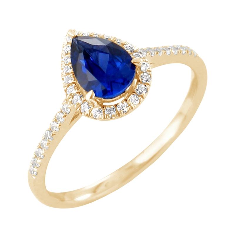 Bague or jaune, Saphir et Diamants , Amélie