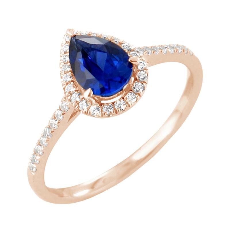 Bague or rose, Saphir et Diamants , Amélie