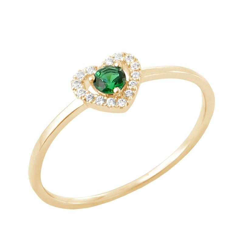 Bague or jaune, Emeraude et Diamants , Anka