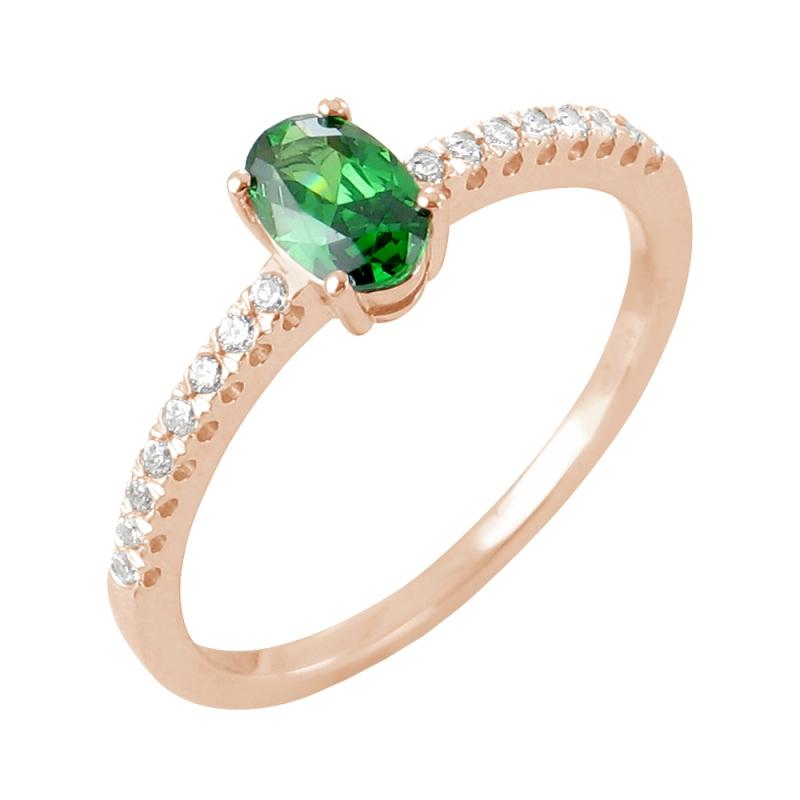 18k Rose Gold Emerald and Diamond Ring , Astana