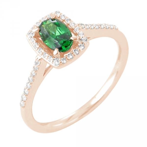 Emma bague or rose 18 carats emeraude et diamants Diveene joaillerie