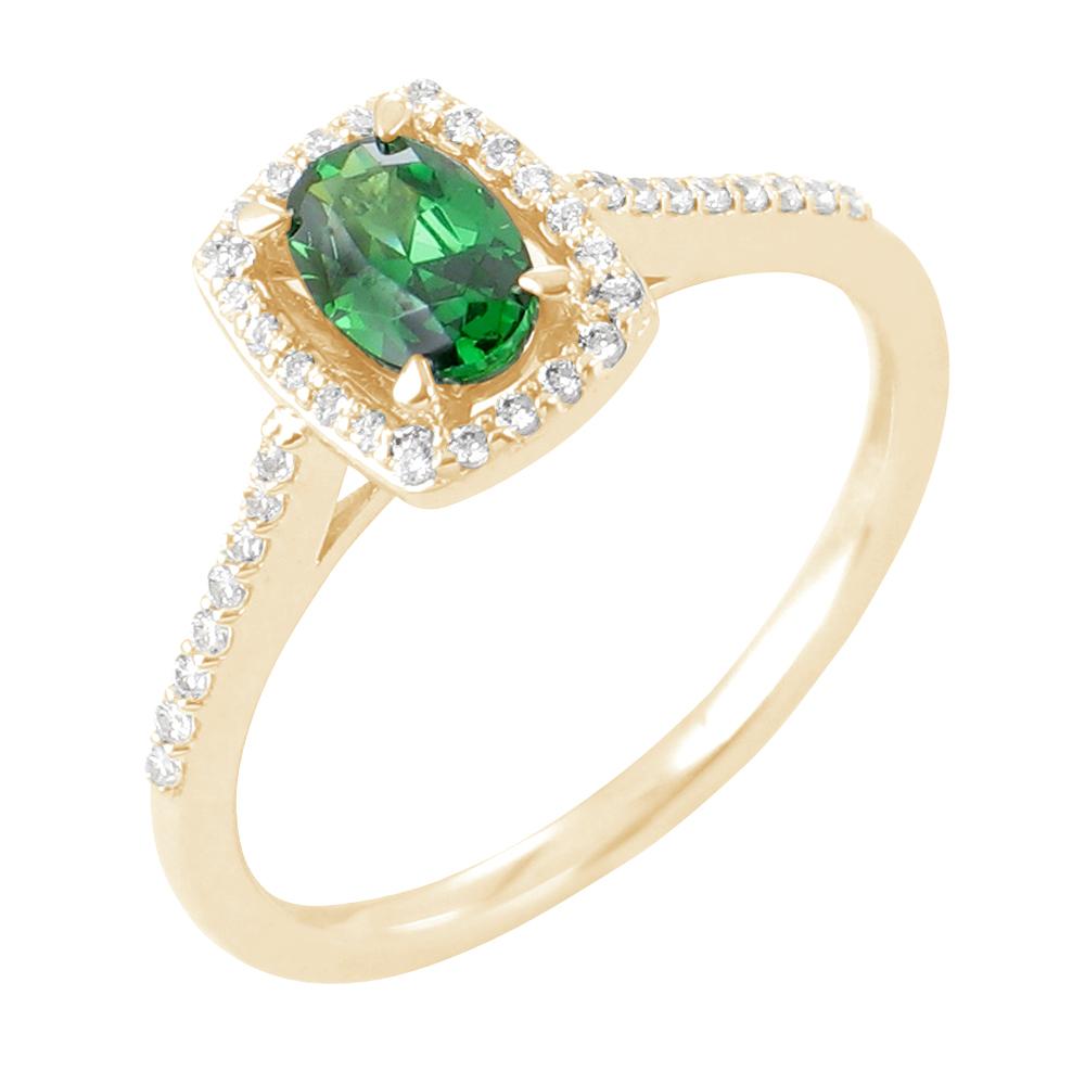 Emma bague or jaune 18 carats emeraude et diamants Diveene joaillerie