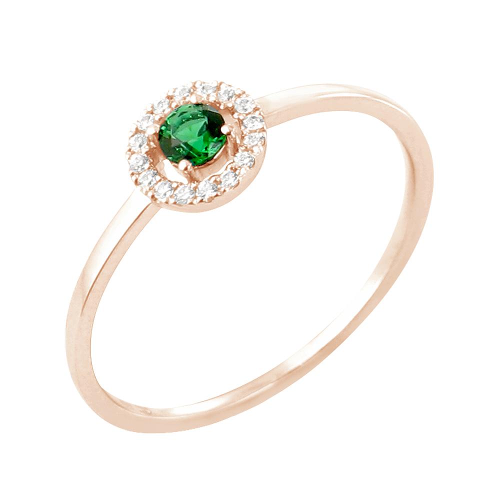 Faith bague or rose 18 carats emeraude et diamants Diveene joaillerie