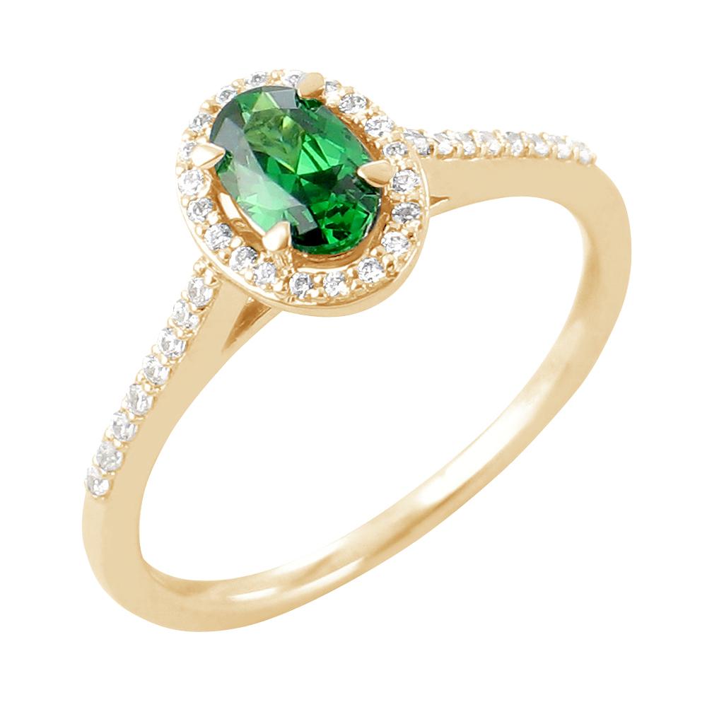 Genesa bague or jaune 18 carats emeraude et diamants Diveene joaillerie