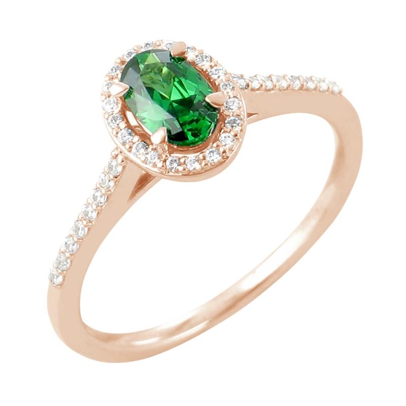 18k Rose Gold Emerald and Diamond Ring , Genesa