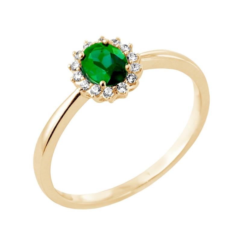 Bague or jaune, Emeraude et Diamants , Indira