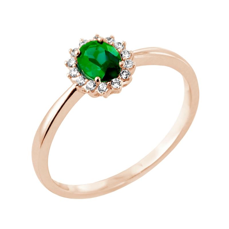Bague or rose, Emeraude et Diamants , Indira