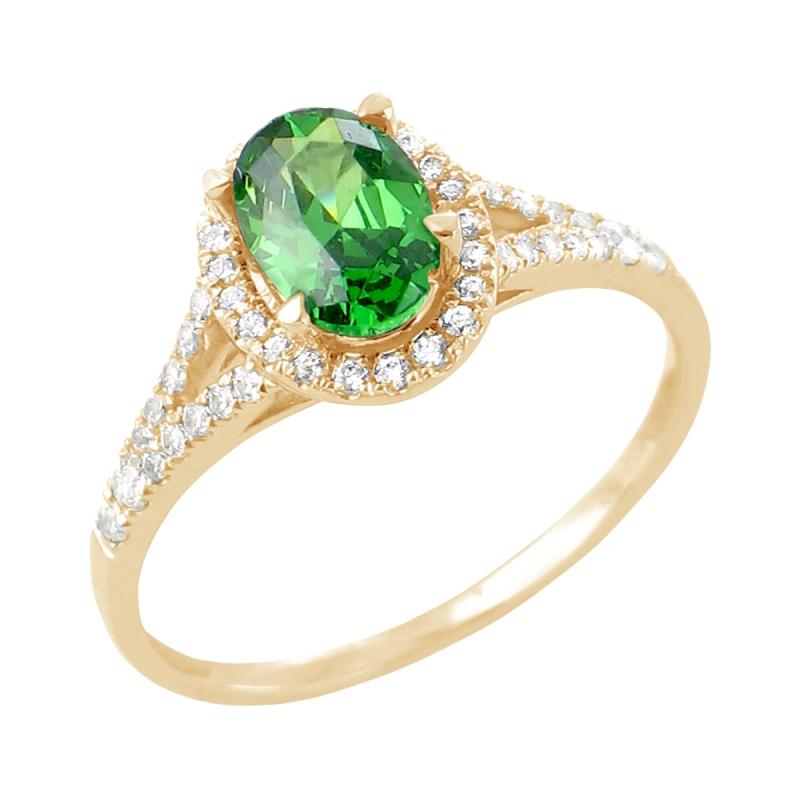 Bague or jaune, Emeraude et Diamants , Jade