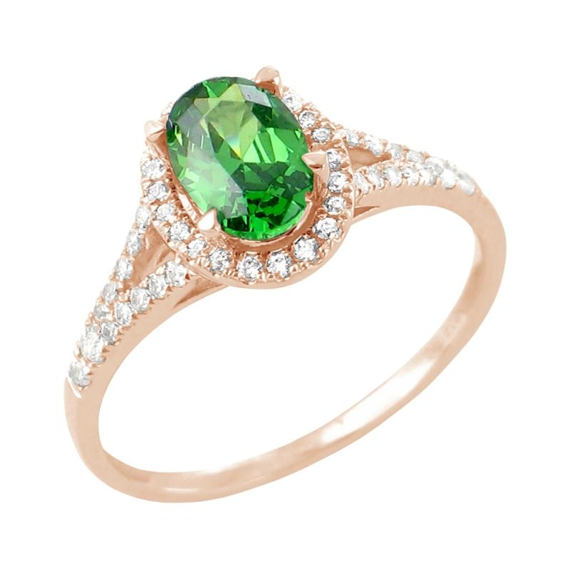 18k Rose Gold Emerald and Diamond Ring , Jade