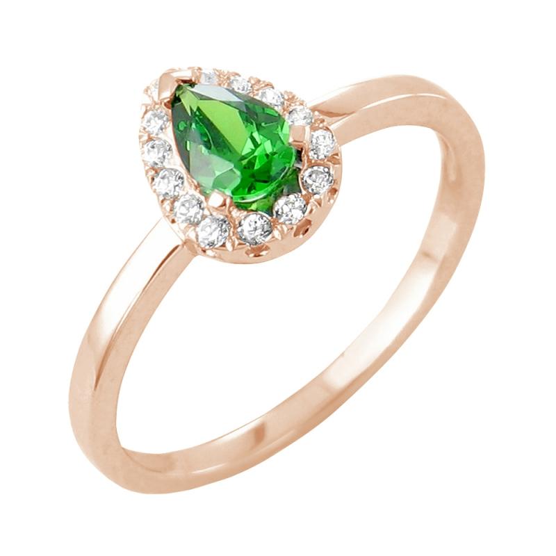 18k Rose Gold Emerald and Diamond Ring , Kirsten