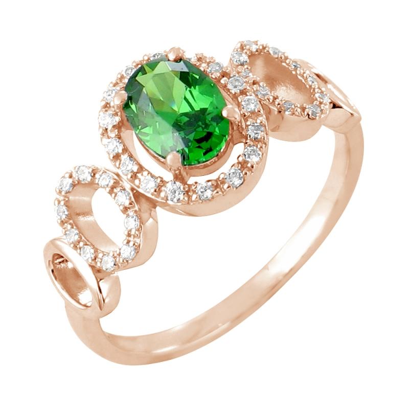 Bague or rose, Emeraude et Diamants , Lucinda