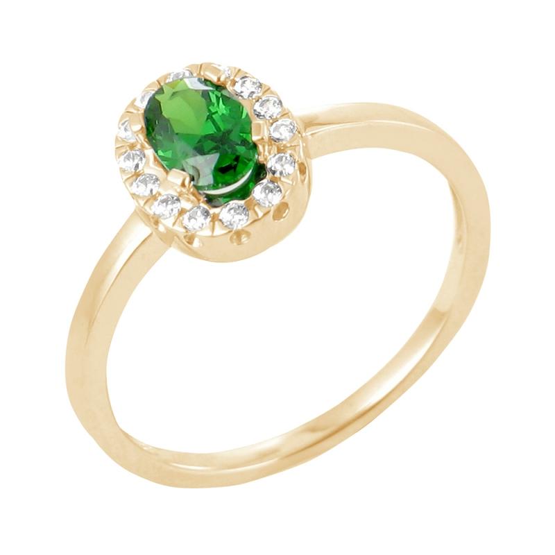 18k Yellow Gold Emerald and Diamond Ring , Nurhan