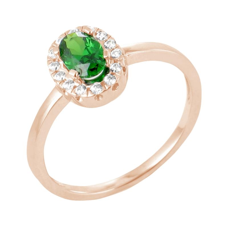 Bague or rose, Emeraude et Diamants , Nurhan
