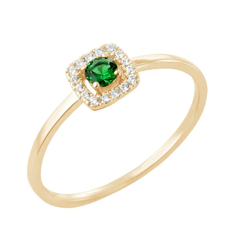 18k Yellow Gold Emerald and Diamond Ring , Rita