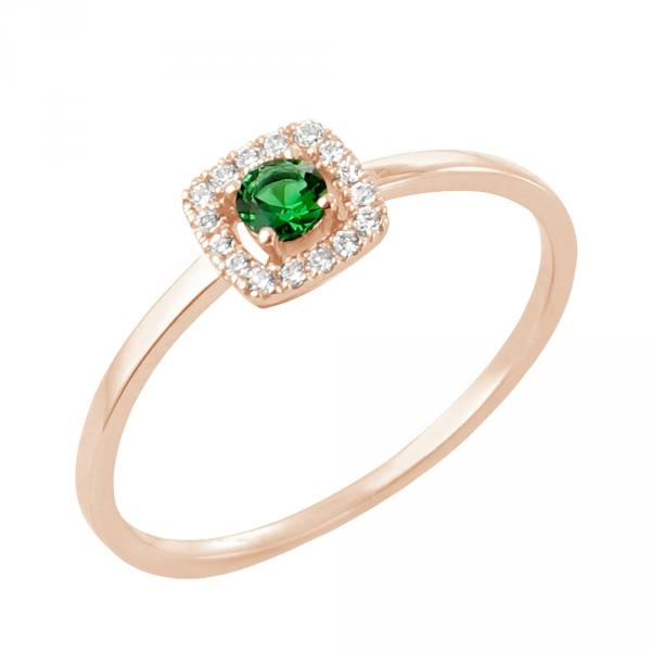 Rita bague or rose 18 carats emeraude et diamants Diveene joaillerie