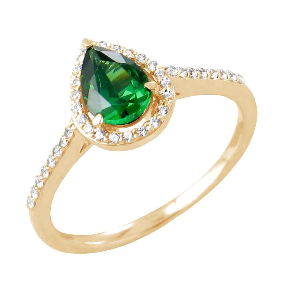 Flora bague or jaune 18 carats emeraude et diamants Diveene joaillerie