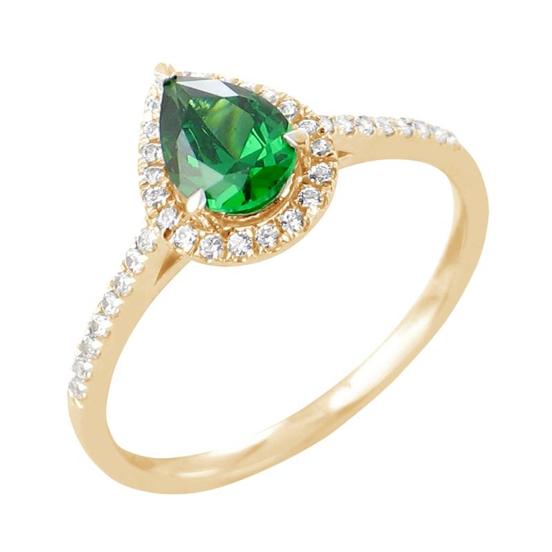 Bague en or, Emeraude et Diamants , Siva